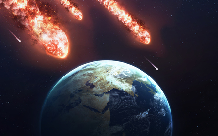 asteroid: The Falling Meteor Rain. Comet in space, meteor and energy, asteroid glow, powerful star moving
