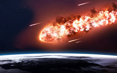 fireballs: The Falling Meteor Rain. Comet in space, meteor and energy, asteroid glow, powerful star moving