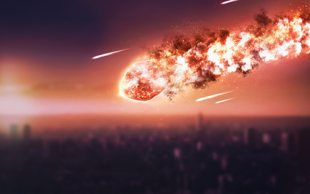 The Falling Meteor Rain. Comet in space, meteor and energy, asteroid glow, powerful star moving
