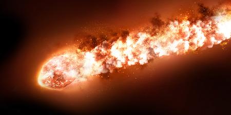 La caída de la lluvia del meteorito. Cometa en el espacio, meteoritos y energía, brillo de asteroides, poderosa estrella moviéndose