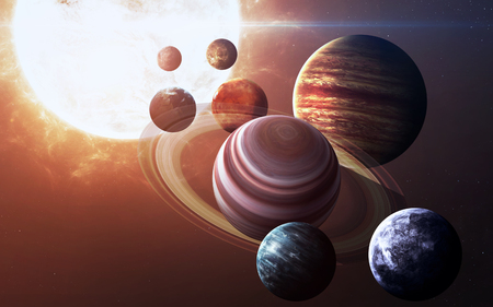 High resolution images presents planets of the solar system. 版權商用圖片