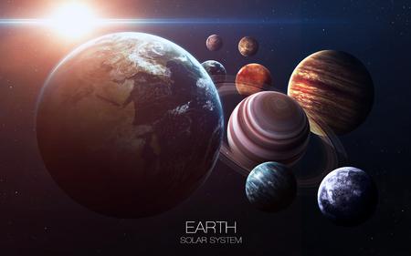 地球 - 高解像度の画像は、太陽系の惑星を提示します。 写真素材