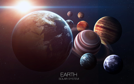 jupiter light: Earth - High resolution images presents planets of the solar system. Stock Photo