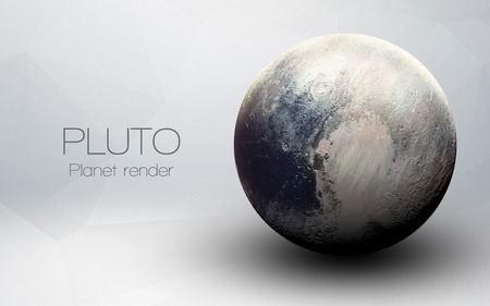Pluto - High resolution 3D images presents planets of the solar system. 免版税图像