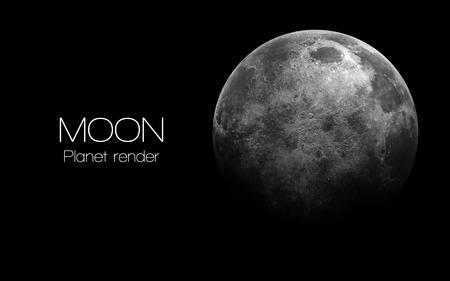 Luna - alta resolución de imágenes en 3D presenta planetas del sistema solar. Foto de archivo