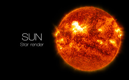 Sun - High resolution 3D images presents planets and star of the solar system.