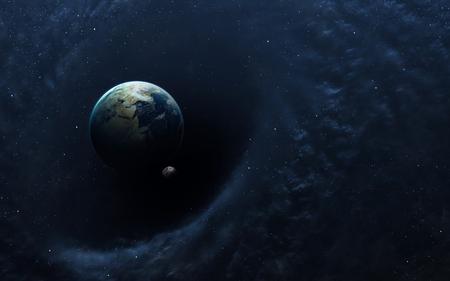 astronomie: Schwarzes Loch im Raum, Erde und Raumschiff. Lizenzfreie Bilder