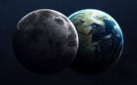 earth from space: Earth and moon from space.