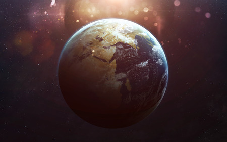 horizonte: Vista de la tierra desde el espacio. Los elementos de esta imagen proporcionada por la NASA Foto de archivo