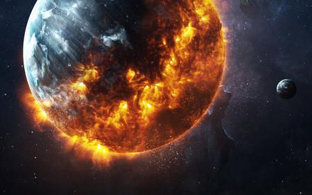 Abstract apocalyptic background - burning and exploding planet .