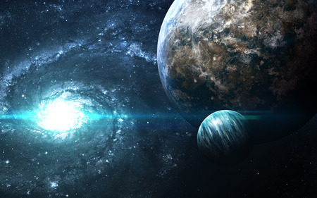 Planets over the nebulae in space. This image elements furnished by NASA 스톡 콘텐츠