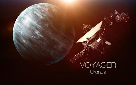 天王星 - ボイジャー探査機。このイメージ エレメントは NASA から提供されました。 写真素材