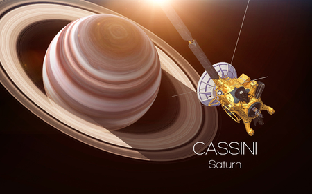土星 - カッシーニ探査機。このイメージ エレメントは NASA から提供されました。 写真素材