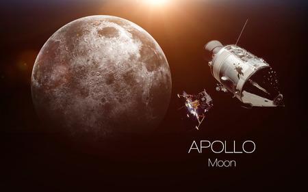 Luna - Apollo nave espacial. Estos elementos de imagen proporcionada por la NASA. Foto de archivo - 69701435