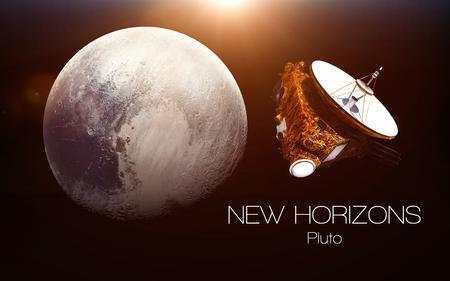 冥王星 - 新しい地平線の宇宙船。このイメージ エレメントは NASA から提供されました。 写真素材