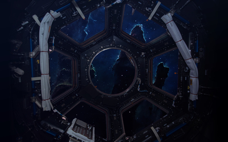 sf: A round window on a space station. This image elements furnished by NASA