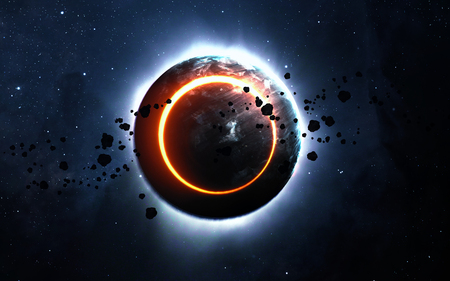 end of the world: Abstract scientific background - glowing planet Earth in space, solar eclipse, nebula and stars. Elements of this image furnished by NASA Stock Photo