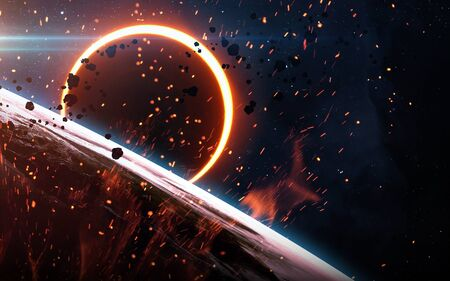 the end of the world: Abstract scientific background - glowing planet Earth in space, solar eclipse, nebula and stars. Elements of this image furnished by NASA Stock Photo