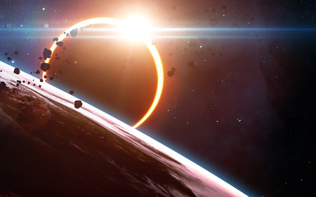 destroy: Abstract scientific background - glowing planet Earth in space, solar eclipse, nebula and stars. Elements of this image furnished by NASA Stock Photo