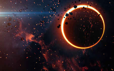 full of holes: Solar Eclipse Above a Nebula. Elements of this image furnished by NASA Stock Photo