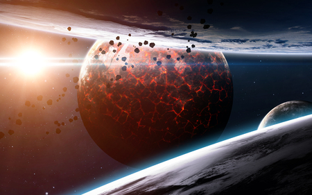 kepler: Infinite space background with nebulas and stars. Stock Photo