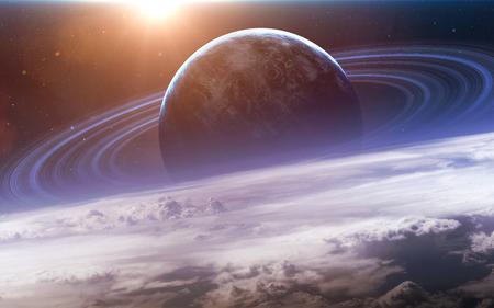 공간 탐험의 아름다움을 보여주는 우주 공간에서 행성, 별 및 은하와 우주 장면.