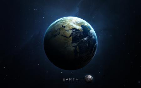 Earth - Les images 3D haute résolution présentent des planètes du système solaire. Banque d'images