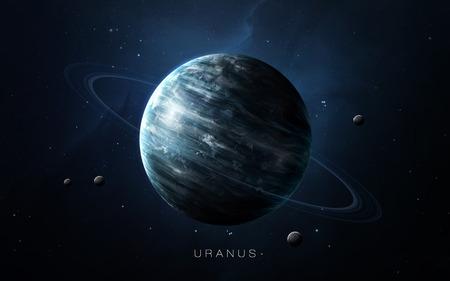 Urano - alta resolución de imágenes en 3D presenta planetas del sistema solar. Foto de archivo - 54300875