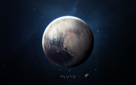 pluto: Pluto - High resolution 3D images presents planets of the solar system. Stock Photo