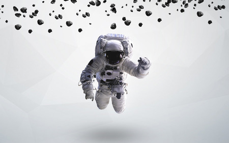 Astronaut in outer space modern art. Stockfoto