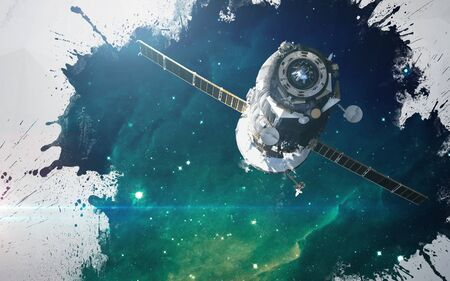 kosmos: Wasser spritzt auf Deep Space Hintergrund. Künstlerische Gestaltung für Karten und Plakate.