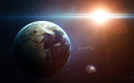 Tierra - de alta resolución de imágenes en 3D presenta planetas del sistema solar. Foto de archivo