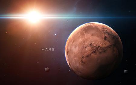 火星 - 高解像度の 3 D 画像は、太陽系の惑星を提示します。