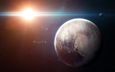 Pluto - High resolution 3D images presents planets of the solar system. Stock Photo