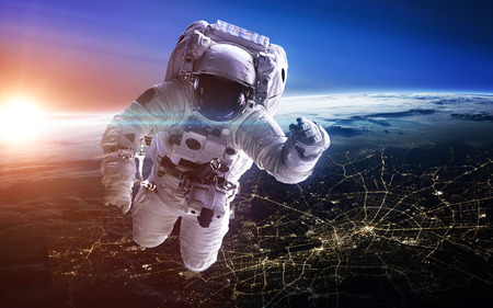 gravity: Astronaut in outer space. Spacewalk.