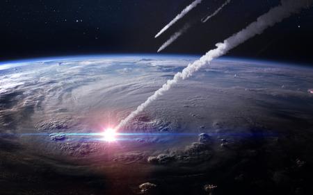 Meteor shower in the Earth's atmosphere. Foto de archivo