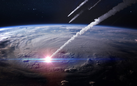 Meteor shower in the Earth's atmosphere. Imagens