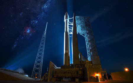 Spacecraft Launch Into Space.