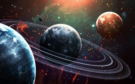 Escena del universo con planetas, estrellas y galaxias en el espacio exterior que muestran la belleza de la exploración espacial. Foto de archivo - 54903106