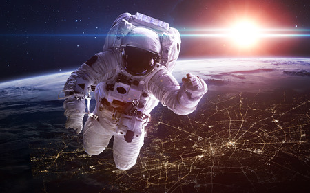 outer: Astronaut in outer space. Spacewalk.