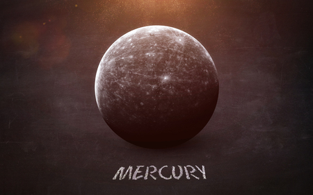 Mercury - High resolution images presents planets of the solar system on chalkboard.