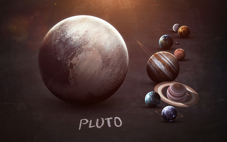pluto: Pluto - High resolution images presents planets of the solar system on chalkboard.