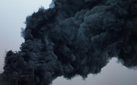 Nuage noir d'une terrible explosion dans le ciel