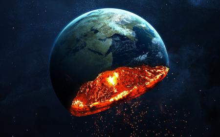 終末論的な背景 - 惑星地球爆発、ハルマゲドンの図、時間の終わり。NASA から提供されたこのイメージの要素 写真素材