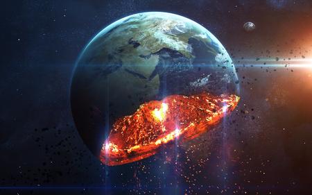 Apocalíptico fondo - el planeta Tierra de estallido, ilustración Armageddon, fin de los tiempos. Los elementos de esta imagen proporcionada por la NASA Foto de archivo