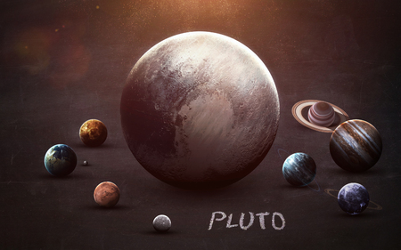 pluto: Pluto - High resolution images presents planets of the solar system on chalkboard. This image elements furnished by NASA