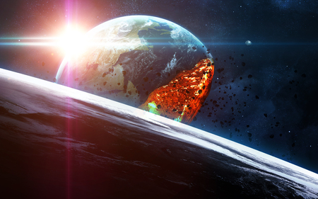 armageddon: Apocalyptic background - planet Earth exploding, armageddon illustration, end of time. Elements of this image furnished by NASA