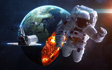 apocalyptic: Apocalyptic background - planet Earth exploding, armageddon illustration, end of time. Elements of this image furnished by NASA