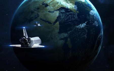 추상 과학 배경 - 공간, 성운과 별에 빛나는 행성. NASA가 제공 한이 이미지의 요소
