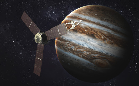 jupiter: Juno spacecraft and Jupiter. Stock Photo